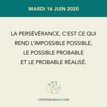 La persévérance, c'est ce qui Rend l'impossible possible, Le possible probable Et le probable réalisé.